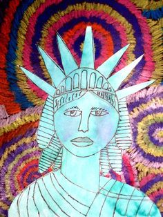 Lady Liberty- crayon on black background, green liquid watercolor paint, sharpie drawing of Liberty