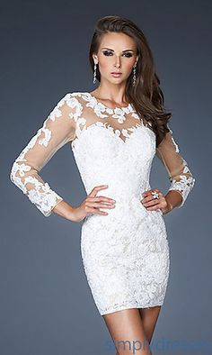 Short Lace Long Sleeve Dress at PromGirl.com..second dress