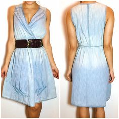 """Anthropologie Draped Denim Dress Anthropologie Draped Denim Dress. Dressed-up details, like a double lapel collar and appliqued swags, are softened by sun-bleached denim. By Maeve. -Elasticized waist  -Back zip. -100% Cotton.  -Machine wash. -Length: 38.75""""  NO Trades. Please make all offers through offer button. Anthropologie Dresses"""