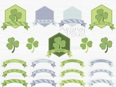 hexagon frame and ribbon banner clip art set green by ArigigiPixel Green and Gray Color Challenge