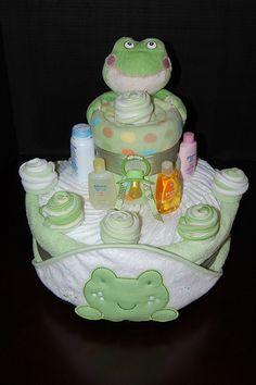 Polka Dot Frog Diaper Cake | by swaddlestar