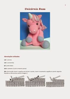 A free piece of crochet that can let your children happy ... A beautiful unicorn in crochet free pattern for their children to play You can...