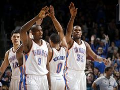 Oklahoma City's Kevin Durant (35) celebrates with Russell Westbrook (0), Serge Ibaka (9), and Steven Adams (12) during an NBA game between the Oklahoma City Thunder and the New Orleans Pelicans at Chesapeake Energy Arena on Friday, Feb. 6, 2015. Photo by Bryan Terry, The Oklahoman