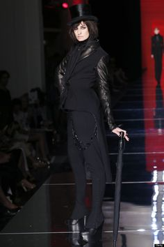 Erin O'Connor on the Jean Paul Gaultier couture catwalk.