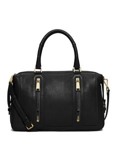 Michael Kors Julia Large Leather Satchel Bag, Black $428.00 FREE SHIPPING + FREE RETURNS every day!