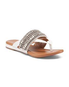 Lyra Beaded Flat Leather Sandals