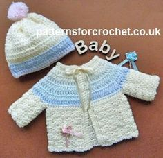 Free baby crochet pattern preemie cardi and bobble hat usa - fits chest PREEMIE baby Preemie Crochet, Crochet Bebe, Crochet For Kids, Knit Crochet, Crochet Hats, Free Crochet, Crochet Baby Sweaters, Crochet Baby Clothes, Baby Knitting