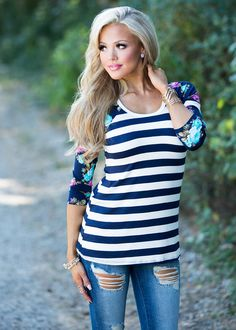 Top, navy and white Top, Floral Top, 3/4 Sleeve Top, Floral Sleeve Top, Striped Top, Cute, fashion, Online Boutique
