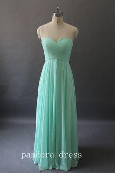 A Line Strapless Sweetheart Long Chiffon Prom Dresses, Homecoming Dresses, Bridesmaid Dress, Evening Dress,mint dress,custom dress, on Etsy, $89.00