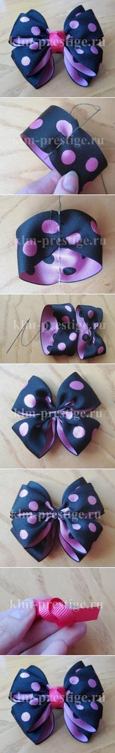 DIY Easy Double Bow - wasn't sure where to put this sewing or craft and kids! Diy Hair Bows, Diy Bow, Ribbon Crafts, Ribbon Bows, Ribbons, Ribbon Flower, Diy Ribbon, Flower Hair, Baby Bows