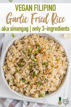 Vegan Filipino Garlic Fried Rice aka Sinangag This vegan filipino garlic fried rice is easy to make, requires just and is the perfect way to give your day-old rice a makeover. Vegan Rice Dishes, Rice Recipes Vegan, Veggie Recipes, Lunch Recipes, Whole Food Recipes, Vegetarian Recipes, Dinner Recipes, Cooking Recipes, Healthy Recipes