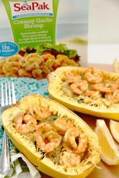 Recipe: Skinny Creamy Garlic Shrimp with Spaghetti Squash - Smashed Peas & Carrots Shrimp Spaghetti, Garlic Spaghetti, Spaghetti Squash, Zucchini Pasta, Garlic Shrimp, Nutritious Meals, Keto Recipes, Carrots, Healthy Eating