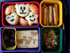 Great ideas for bento boxes for kids lunches...also good tips on how to fill them (like all the way up to the top so they don't get mixed up).