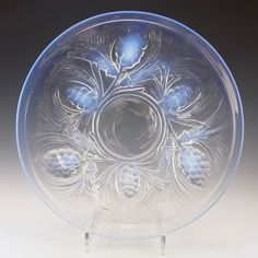 SIGNED Jobling Art Deco Opalescent Glass Fircone Plate