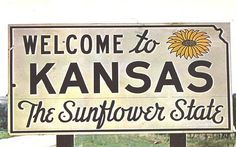Welcome to Kansas - The Sunflower State. - postmarked in 1959 with 3 cent Liberty stamp