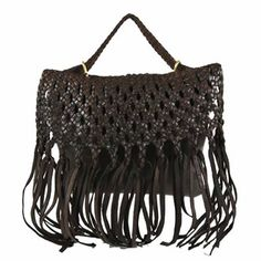 Motif 56 JOSIE Braided Leather Bag in Chocolate available at stefaniBags.com