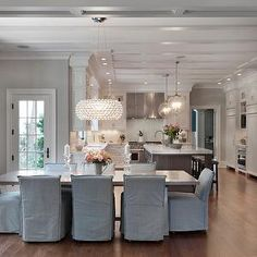 Blue Dining Chairs, Transitional, Dining Room, Blue Water Home Builders