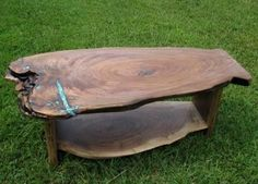 Custom Made Figured Walnut Crotch Slab Coffee Table With Shelf