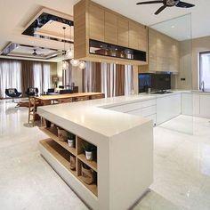 New Kitchen Marble Floor Open Shelving 29 Ideas Beautiful Kitchen Designs, Modern Kitchen Design, Beautiful Kitchens, Interior Design Kitchen, Cool Kitchens, Kitchen Counter Design, Marble Interior, Ikea Interior, Interior Design Singapore