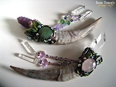 Magickal Ritual Sacred Tools:  Magic Crystal Wand Set with Goat Horns and Quartz, by SpinningCastle.