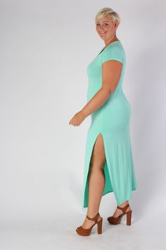 Plus Size Clothing for Women - Side Slit Maxi Dress - Mint (Sizes 14 - 20) - Society+ - Society Plus - Buy Online Now!