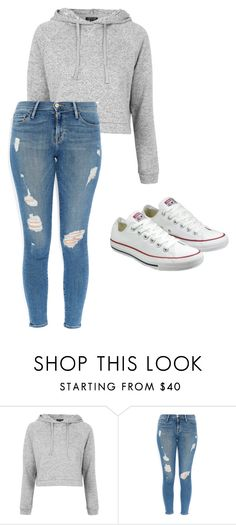 """""""Untitled #111"""" by sarakaser ❤ liked on Polyvore featuring Topshop, Frame Denim and Converse"""