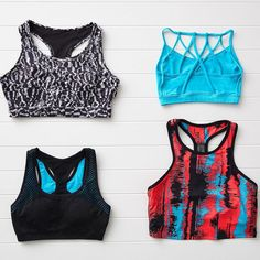 Check out our latest selection of #sportsbras: the sandstorm print the heat wave print the Dash Bra in aqua and the Lunada Bra in black and aqua! Which one will be the newest addition to your wardrobe? #workoutclothes