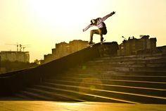 Maxim Kruglov jets down some steps in Almaty