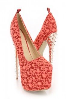 Red Shimmery Closed Toe Platform Heels