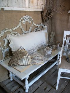 Repurposed headboard and table create a new bench. while white washed shutters. - Repurposed headboard and table create a new bench… while white washed shutters… Repurposed head - # Repurposed Items, Repurposed Furniture, Painted Furniture, Repurposed Shutters, Diy Shutters, Metal Shutters, Plastic Shutters, Bedroom Shutters, Vintage Shabby Chic