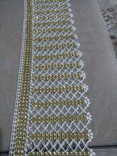 Sira-Perlen-Spitze-edge – Maria Cristina Ferri – Join in the world Crochet Edging Patterns, Crochet Lace Edging, Crochet Borders, Bead Crochet, Irish Crochet, Crochet Designs, Crochet Doilies, Lace Tape, Lace Runner