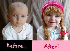 Baby Beanie Wig Beanie Pigtail Wig Hot Pink Baby Hat. $19.95, via Etsy.