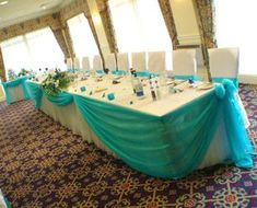 For the head table? Love this for the bridal party! Love it with Teal and Purple accents and table deco. Wedding Decorations Pictures, Wedding Table Decorations, Purple Wedding, Wedding Colors, Dream Wedding, Bridal Party Tables, Sweet Sixteen, Wedding Reception, Wedding Ideas