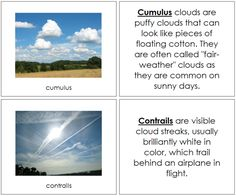 Cloud Nomenclature Book - This book illustrates and describes 14 types of clouds. Includes 14 picture cards and 14 description cards. A nice addition to your Montessori science curriculum. Weather Cloud, Weather Unit, Montessori Science, Montessori Homeschool, Preschool Science, Homeschooling, Weather Tracking, Weather Cards, Graffiti