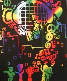 Scratch art inspired by music, symbols, celebrations, or a specific theme.