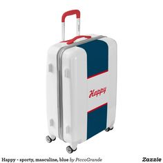 Happy - sporty, masculine, blue luggage Personalized Luggage, Reset Button, Vacation Packing, Carry On Luggage, Sporty Style, Travel Gifts, Good Vibes Only, Travel Accessories, Sheds