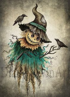 Every day is Halloween — by Diana Levin Scarecrow Tattoo, Scarecrow Drawing, Halloween Tattoo, Halloween Scarecrow, Halloween Drawings, Halloween Painting, Halloween Prints, Halloween Pictures, Halloween Horror