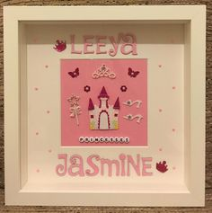 Personalised Princess Frame  #handmade #handcrafted #handmadeframe #personalised #personalisedframes #personalisedgifts #craft #art #design #bespoke #beautiful #pink #pretty #princess #sister #tiara #flowers #butterfly #wand #shoes #glitter #fairytail #castle #giftideas #keepsake #leicester #family #friends #creative #children by handmade_personalised_frames