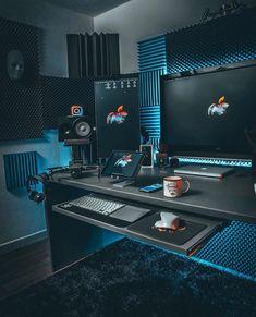 lenonkiss FREE Workspace Design Guide in Bio Home Recording Studio Setup, Home Studio Setup, Music Studio Room, Home Office Setup, Home Office Design, House Design, Office Desk, Gaming Room Setup, Desk Setup