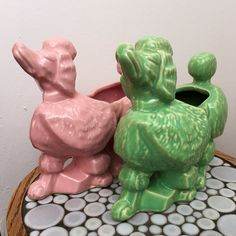 Pair of McCoy Pottery poodle planters, green and pink. In good condition with some interior crazing in the planter well. The green one has Old Pottery, Mccoy Pottery, Vintage Pottery, Pop Some Tags, Wall Mounted Planters, Unique Vintage, Vintage Stuff, Pink Poodle, Vintage Planters