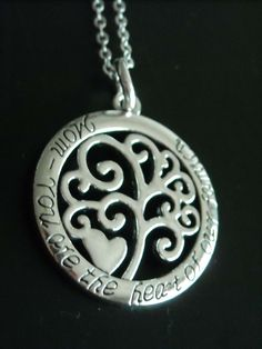 """New ~ Silver Filigree Tree Heart Pendant with words """"Mom You are the heart of our family"""" Necklace MOTHER GIFT by GlamRusJewels on Etsy"""