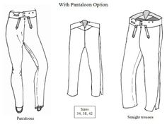 1800 - 1825 Men's Narrow Fall Trousers Pattern with Pantaloon Option