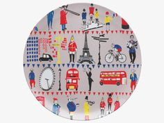Designed by Lizzie Allen for Habitat, this Lizzie melamine round tray captures the iconic imagery of London & Paris in a fun illustrative style.