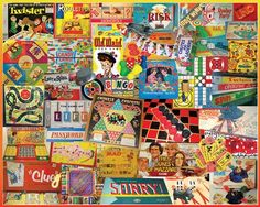 """Games We Played.  All the old favorites are included in this collage by Lois B. Sutton. Old Maid, Sorry, Clue, Tiddly Winks, Monopoly, and many more. So many to choose from -- which was YOUR favorite? Item:924 : Artist: Lois Sutton : 1000 piece jigsaw puzzle: Finished size 24"""" x 30"""""""