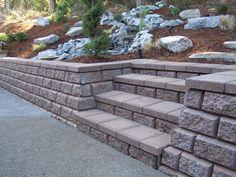 retaining wall on slope   Garden Steps and Retaining Wall   Western Interlock
