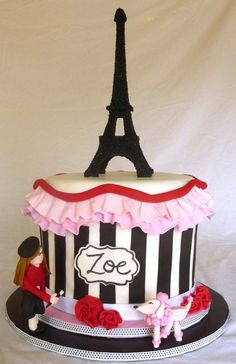 Paris-Themed Cake - This cake was made for an 11-year old's birthday. Mom said she was into art, so I had her figurine painting her name on the sign. Eiffel Tower, girl & poodle made from fondant/sugar paste. Cake is dark chocolate, filled with chocolate buttercream, coated in dark chocolate ganache, and finished in vanilla fondant.