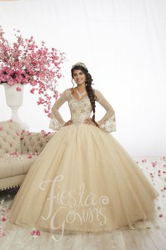Fiesta Quinceanera 56346 This gown features a full tulle and sparkle tulle ball gown skirt and an enrapturing bodice. Beaded with every sparkling adornment imaginab Sweet 16 Dresses, 15 Dresses, Fashion Dresses, Formal Dresses, Wedding Dresses, Pretty Quinceanera Dresses, Quinceanera Party, Tulle Ball Gown, Ball Gowns