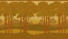 Landscape frieze--Arts & Crafts Wallpaper, Craftsman Style Wallpaper | Landscape Friezes | Bradbury & Bradbury