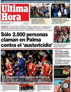Los Titulares y Portadas de Noticias Destacadas Españolas del 2 de Mayo de 2013 del Diario Ultima Hora ¿Que le parecio esta Portada de este Diario Español?