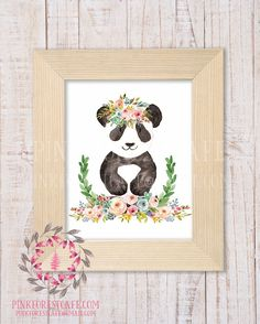 Panda Bear Zoo Animal Boho Bohemian Garden Floral Nursery Baby Girl Room Playroom Prints Printable Print Wall Art Home Decor